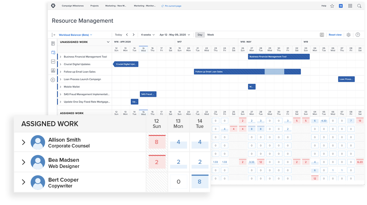 Product screenshot of Workfront integrated calendar