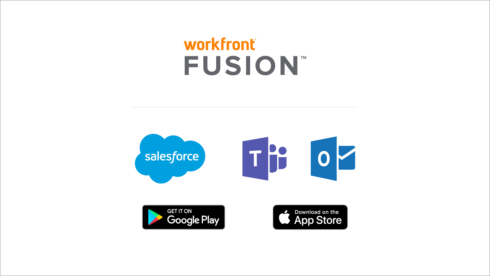 MS Teams, Outlook, Salesforce, Google play and Apple store logos
