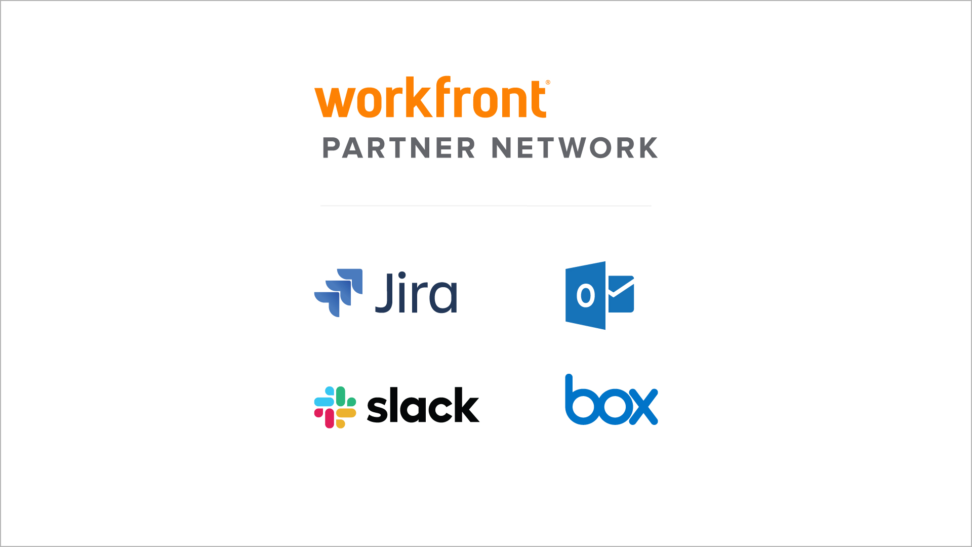 Jira, Outlook, Slack, Box logos
