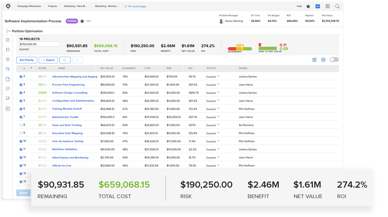 Product screenshot of project tracking
