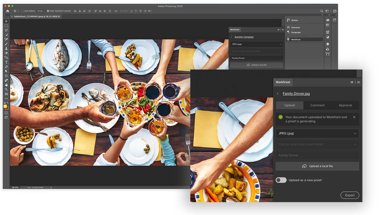image of people eating dinner loaded in creative cloud