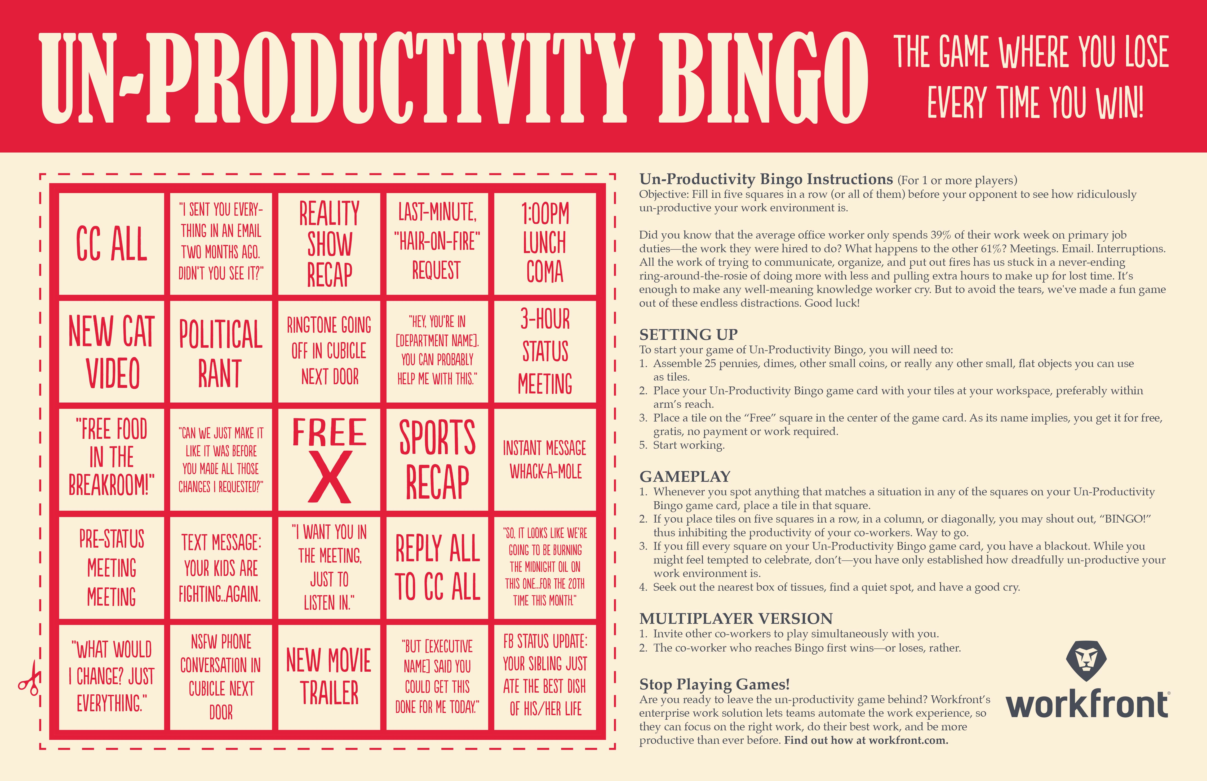 un productivity bingo game