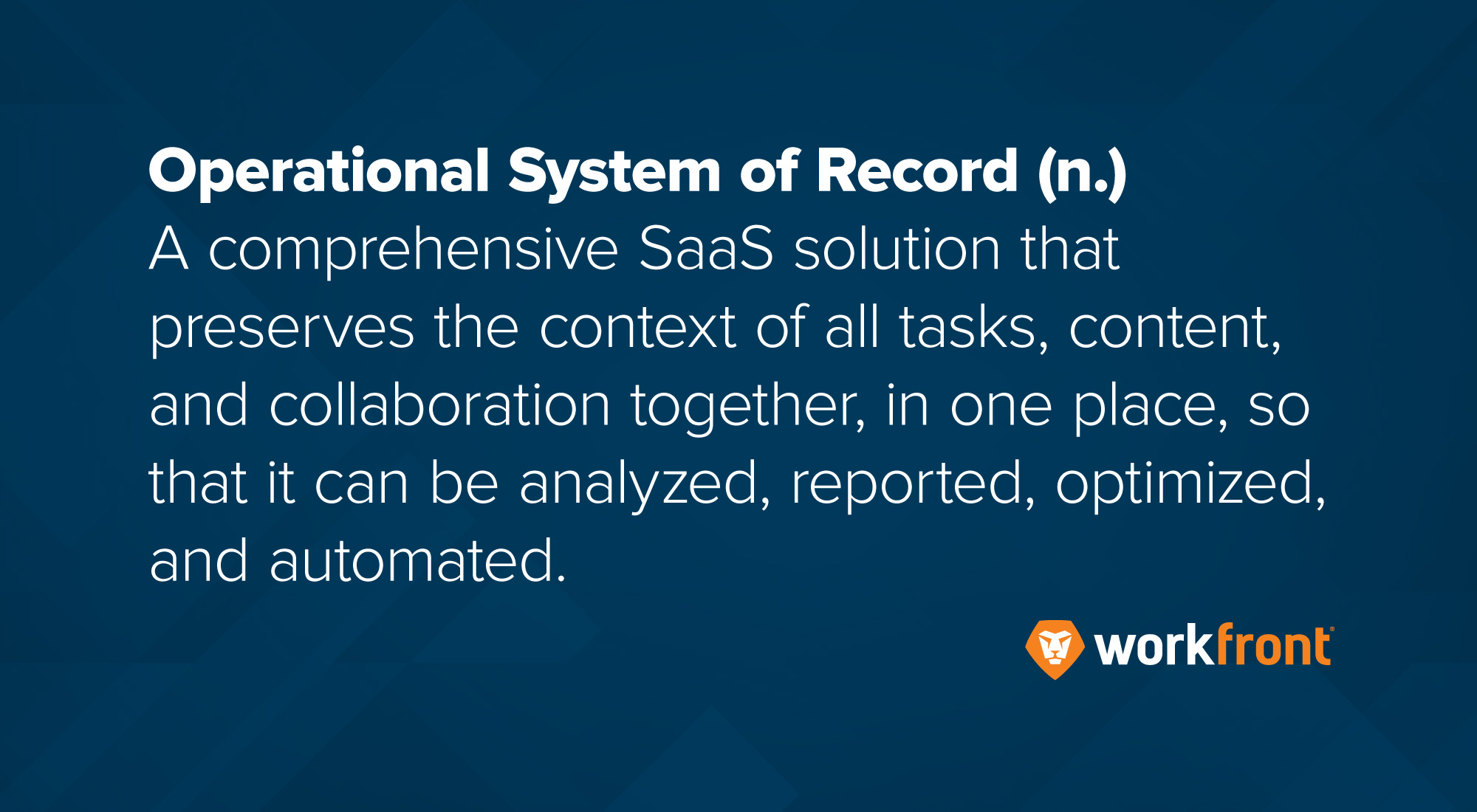 operational system of record definition