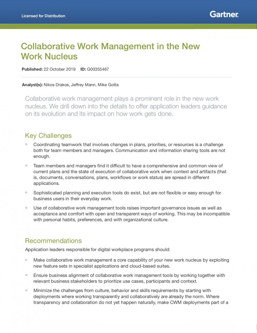 Collaborative work management report