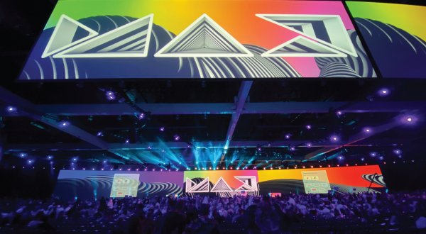 Thousands of Adobe MAX attendees gather at the LA Convention Center.