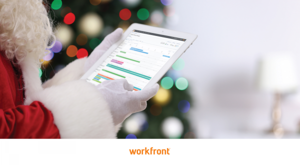 Santa Claus uses the Workfront platform on his tablet