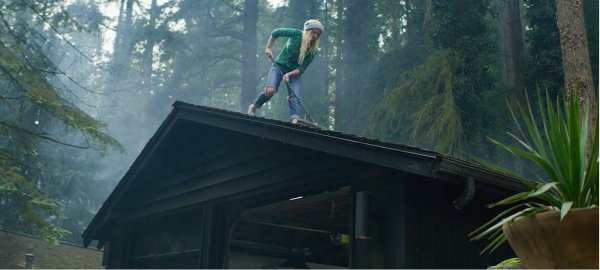 A woman stands on top of a roof in the forest