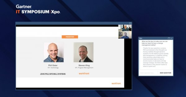 Phil Oster, VP of Technology at John Paul Mitchell Systems, and Steven King, VP of Program Management at Workfront, present at the 2020 Gartner IT Symposium