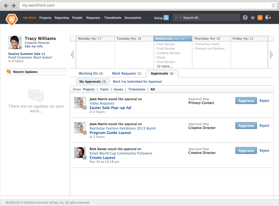 Workfront - track approval requests