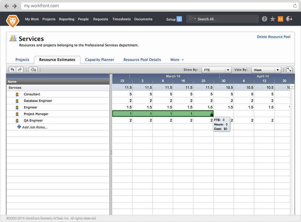 Workfront - Create resource pools to populate your Capacity Planner