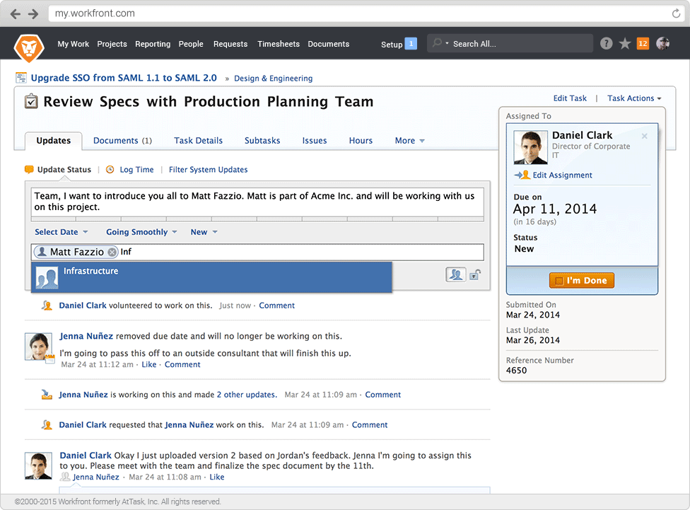 Workfront - Copy or tag team members on project or task updates